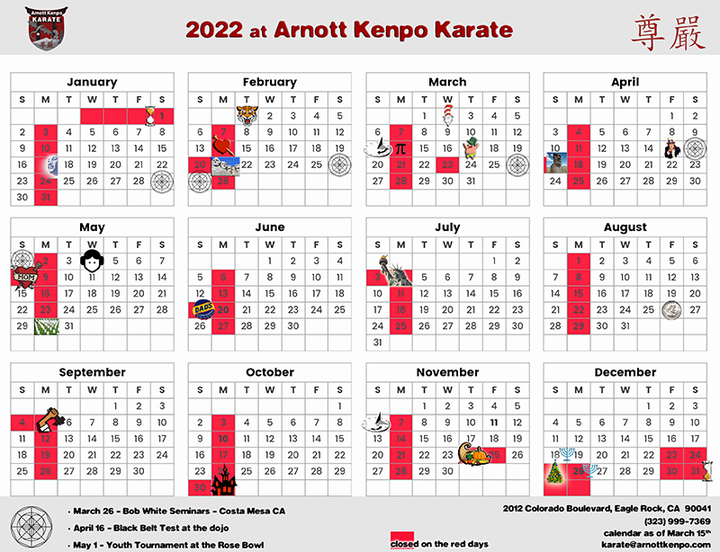Calendar of Self Defense classes and private instruction