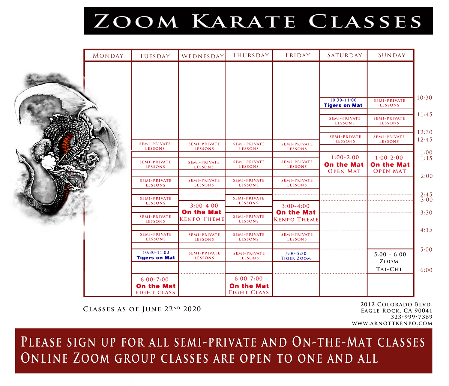 Schedule of Classes and Private Lessons